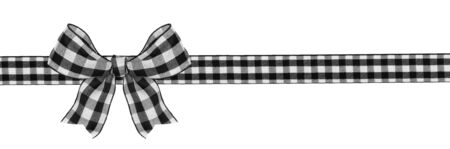 Black and white buffalo plaid Christmas gift bow and ribbon long border isolated on white