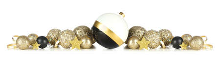 New Years Eve border of gold, black and white decorations isolated on a white background