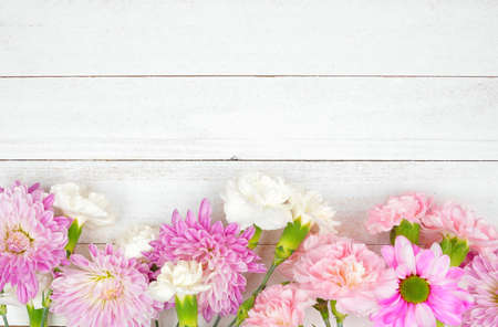 Bottom border of pink and purple flowers with mums, daisies and carnations against a white wood background. Copy space.