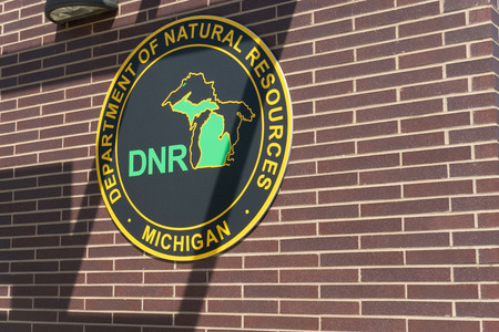 Detroit, MI - September 7,2019:  Mounted sign of detroits department of natural resources sign recreational facility Редакционное