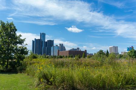 Detroit, Mi - September 7, 2019:  Detroit city skyline from riverwalk park