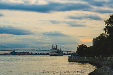 Detroit, Mi - September 7, 2019: Detroit Princess 5-story dinner showboat setting off on the Detroit river
