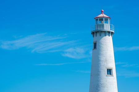 Detroit, Mi - September 7,2019:  Closeup of Milliken State Park lighthouse on the detroit river Редакционное