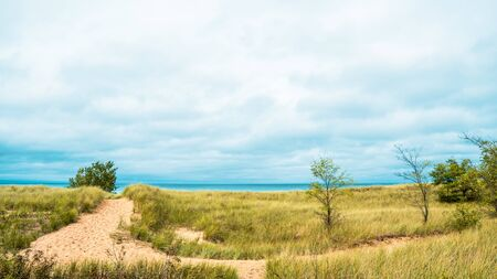Sandy dunes and grass in New Buffalo, Michigan on the lake.  Dramatic sky front coming in before it rains on a sandy path leading to the beach.