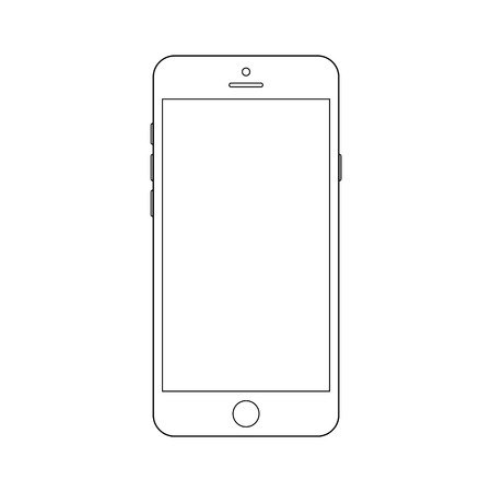 White smartphone with white screen vector. Mobile phone vector. Smartphone white vector.