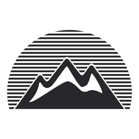 Gray mountains icon, travel symbol.