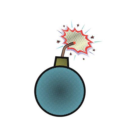 Kernel or bomb with a burning wick comic style. Ilustração