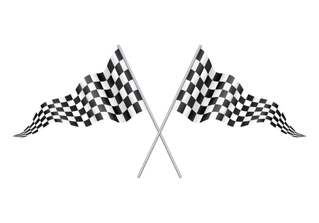 Checkered Racing flag isolated on white. two crossed racing checkered flags. Black and white leather football (soccer) ball, isolated on white, vector illustration. Creckered Racing flag vector.