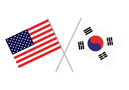 American and South Korea flag. Usa flag and south korea flag vector.