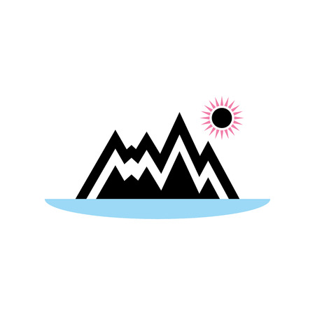 nature in the form of an icon of the mountains, lakes and sun in the Scandinavian style. Ilustração Vetorial