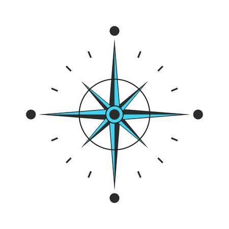 Compass vector Icon. navigation and traveling sign. Black compass with arrows Çizim