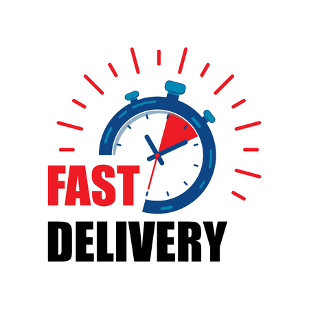 Fast delivery watch service with red arrows. Express fast delivery service stopwatch icon vector eps10.  fast Delivery watch.