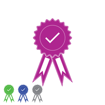 Medal with approved sign. Check mark medal for web design vector