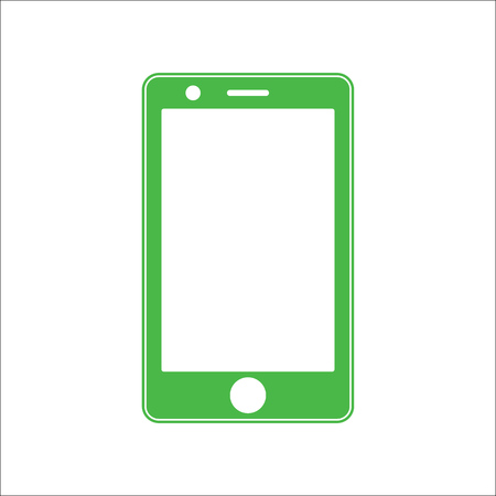 Green smartphone icon for web design vector. Green smartphone with empty white screen.