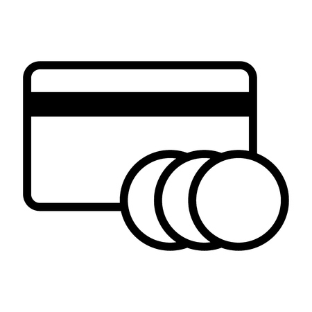Bank card icon. credit card with coins. online payments
