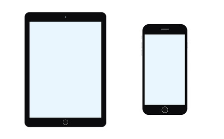 BlackTablet and smartphone with blue screenvector eps10.