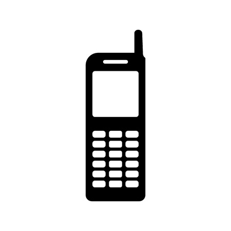Old phone mobile  model with white screen, antenna and buttons. Contact or support mobile phone sign. Ilustração