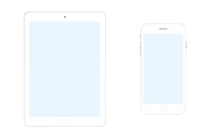 Tablet and smartphone vector eps10. Tablet computer and mobile phone Ilustração