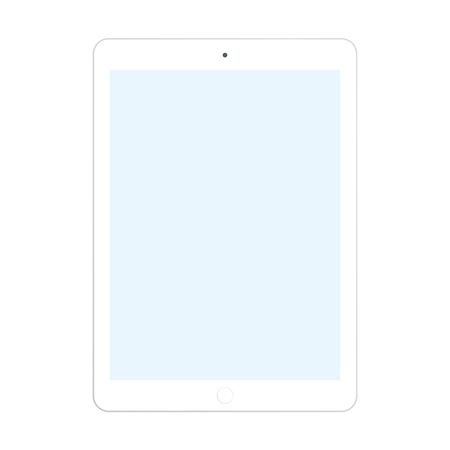 White tablet with blue screen on white background. Tablet computer icon.