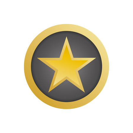 Gold star in circle vector eps10. Rating yellow star icon. Gold shield with star.