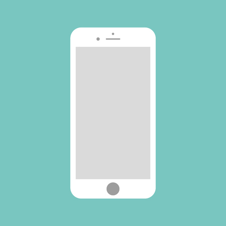 White smartphone with empty grey screen on green background. Smartphone vector.