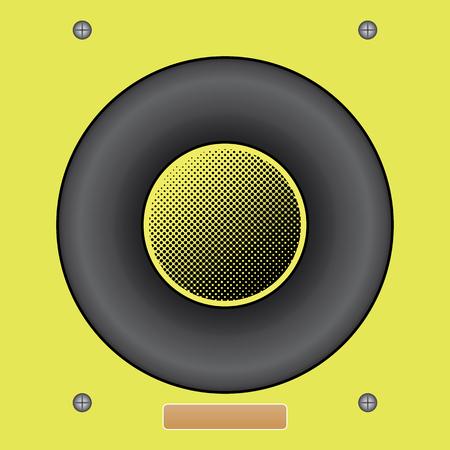 Vector illustration of Yellow Sound Speaker vector. Classic round sound speaker Ilustrace
