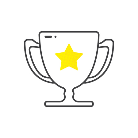 A winners cup, trophy symbolizes victory. Winner gold cup. First place prize.  Tropy reward. cartoon style Vector eps10