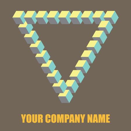 Isometric triangle logo. Penrose triangle vector, logo design element
