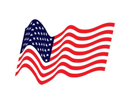 Sventolando la bandiera degli Stati Uniti. illustrazione della bandiera americana ondulata per il giorno dell'indipendenza. Bandiera americana su sfondo bianco illustrazione vettoriale. Stati Uniti, Stati Uniti d'America, banner. USA Bandiera degli Stati Uniti d'America.
