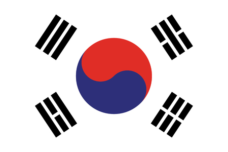 South Korea flag vector eps10. Flag of South korea. South Korea Flag Made with Official Korean National Colors and Correct Proportions - Black Blue and Red Elements on White Background - Vector Flat G Imagens - 120265273