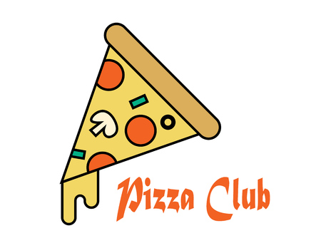 Pizza slice icon vector. Pizza slice with melted cheese and pepperoni. Fast food pizza slice.