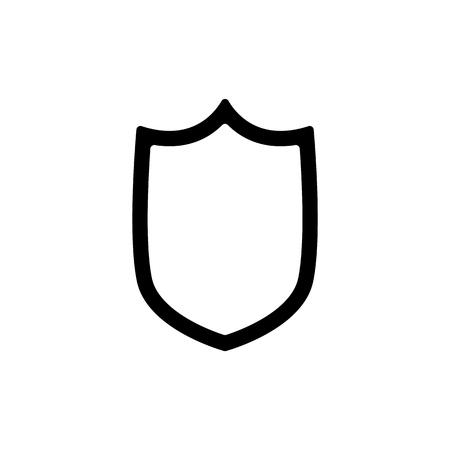 Shield outline flat style vector eps10. Shield outline black line.