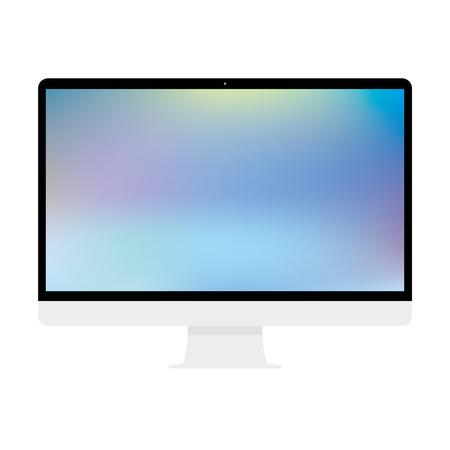 Computer display with blank screen. Front view. Computer screen isolated on white background vector eps10