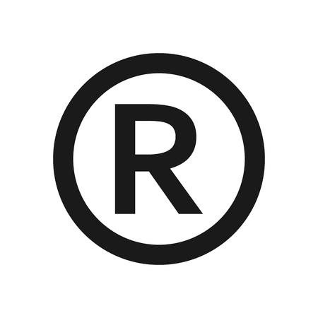 Registered trademark sign. Registered Trademark symbol , isolated black vector illustration