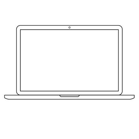 Opened Laptop notebook computer with empty screen outline vector