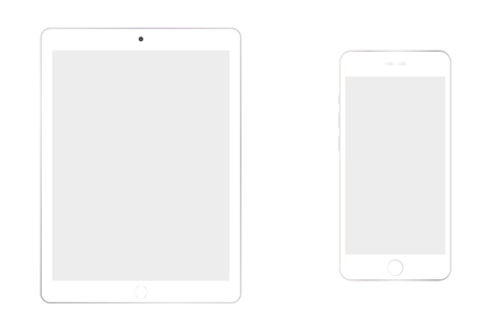 White tablet and smartphone grey screen on white background. smartphone and tablet with empty screen vector. Ilustração