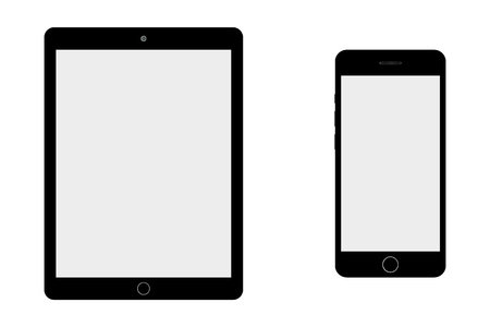 Black tablet and smartphone grey screen on blue background. smartphone and tablet with empty grey screen vector.