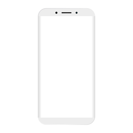 White mobile phone with big empty white screen.  White Mobile phone simple design vector eps10 on white background.