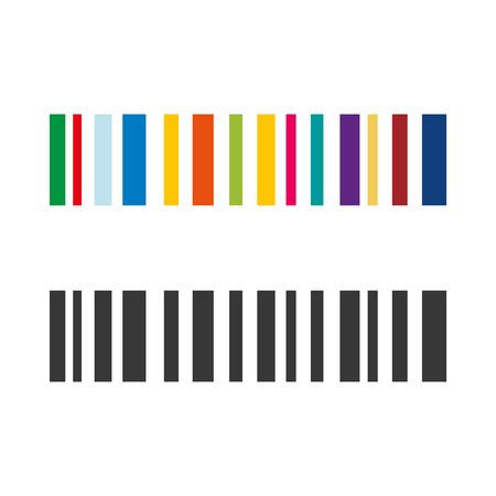colored and grey Barcode rainbow vector icon eps10. barcode set icon Stock Vector - 120266473