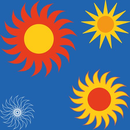 Sun icon set vector. Set of yellow icons of the sun, isolated on blue background.