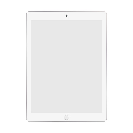 White tablet with grey empty screen on shite background vector eps10. Tablet icon. Ilustração
