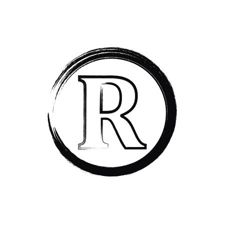 Brush Registered trademark sign black color. black Registered trademark icon vector