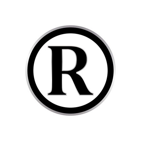 Registered trademark sign silver metal gradient and black. Registered trademark icon vector.