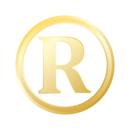 Registered trademark gold metal gradient Registered trademark icon vector.