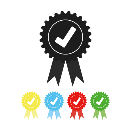 grey color Approved check mark medal icon vector eps10. Approved check sign.