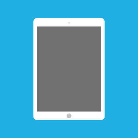 Flat style white tablet with camera and menu button, empty grey screen. Classic front view tablet on blue background. Ilustração