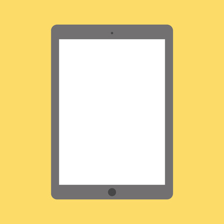 Flat style grey tablet with camera and menu button, empty white screen. Classic front view tablet on yellow background vector