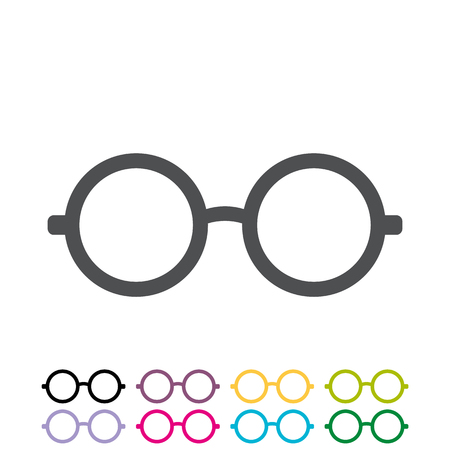 Glasses flat style  icon vector . Round glasses icon. flat design round frame glasses icon vector illustration Foto de archivo - 121279744