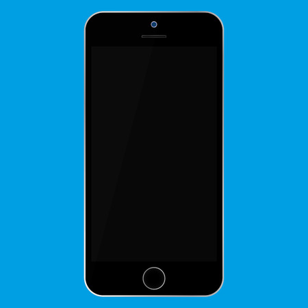 Flat style black  Smartphone with black screen on blue background. Mobile phone icon vector. Ilustração