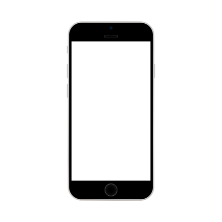 Black smartphone  with white screen on white background vector. Smartphone  with white screen icon.